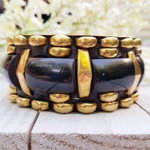 Jewelry - Vintage Black Gold Tribal Boho Brass Chunky Bangle